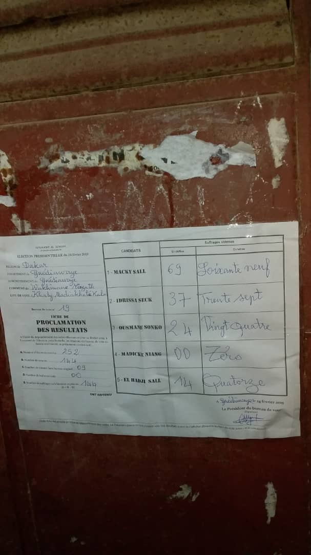 #Scrutin24février-Guédiawaye: Macky Sall devant au centre DHL de Wakhinane Nimzat