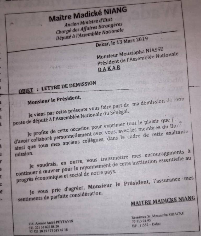 Me Madické Niang écrit une lettre à Niasse et quitte l'Assemblée nationale
