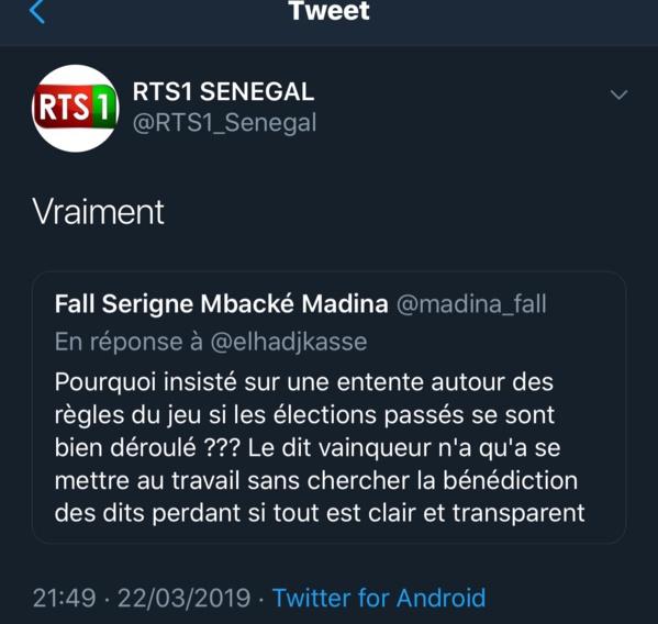 Appel au dialogue de Macky Sall: quand la RTS affiche son désaccord sur Twitter