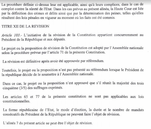 """L'intégralité du """"Projet de loi portant révision de la Constitution"""": 22 articles abrogés, Macky perd le pouvoir de dissoudre l'Assemblée nationale"""