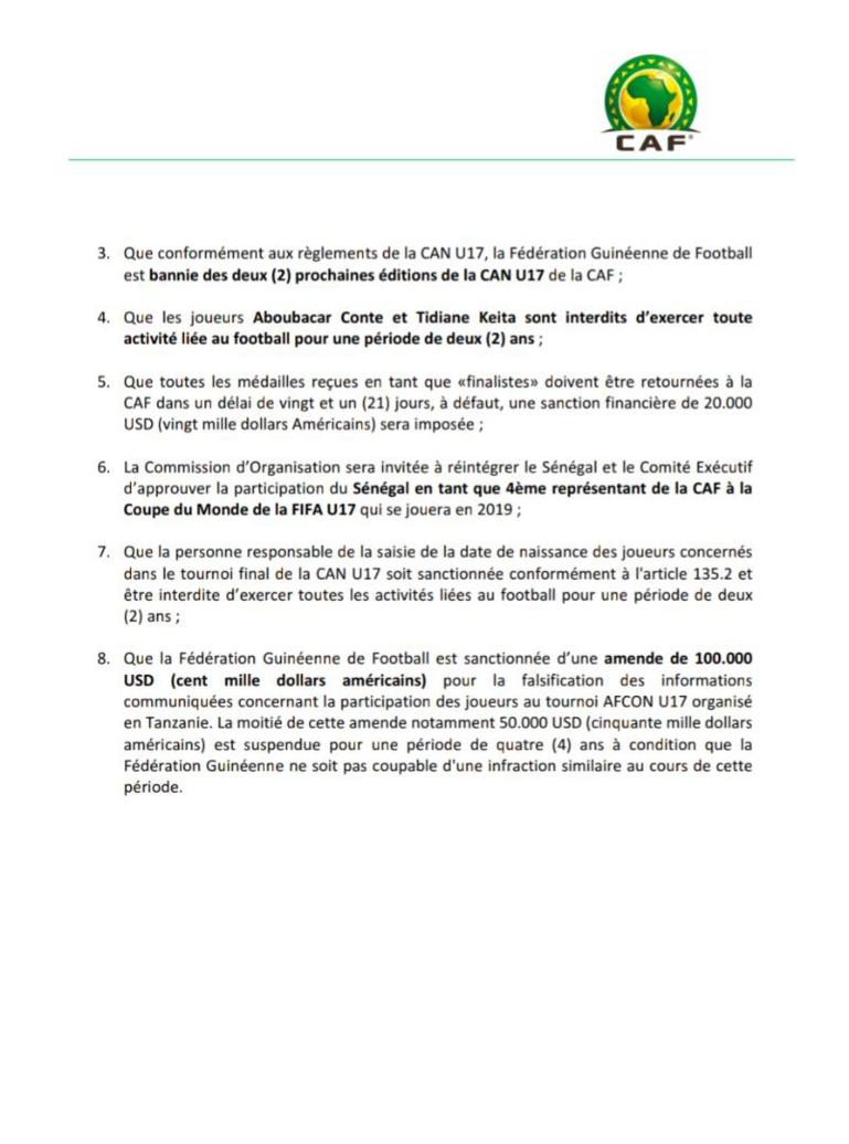 Mondial U17: la Guinée disqualifiée, la Caf rend le ticket au Sénégal