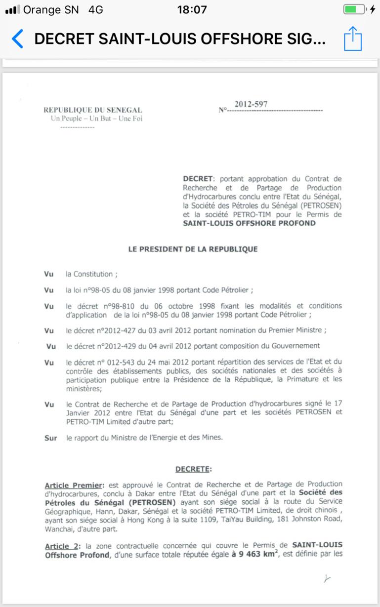#SallGate: le Pds entre dans la danse et publie les décrets d'approbation de Saint-Louis Offshore et de Cayar