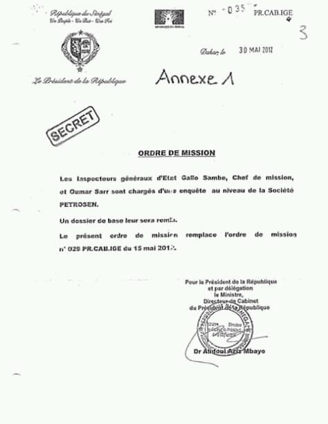 Rapport IGE sur le contrat de Petro-Tim: voici l'Ordre de mission signé par le Directeur de Cabinet du président de la République