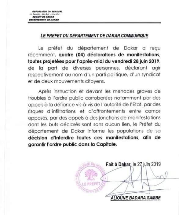 Le Préfet de Dakar interdit 4 manifestations prévues ce vendredi