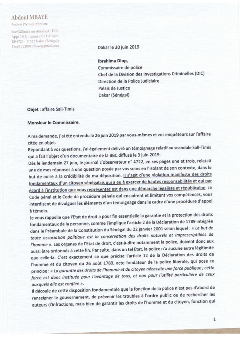 Affaire Sall - Timis : Abdoul Mbaye écrit une lettre corsée au chef de la DIC