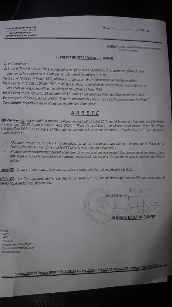 """Voici l'arrêté préfectoral qui interdit la marche de """"Saam Sunu Reew"""" prévue ce vendredi"""