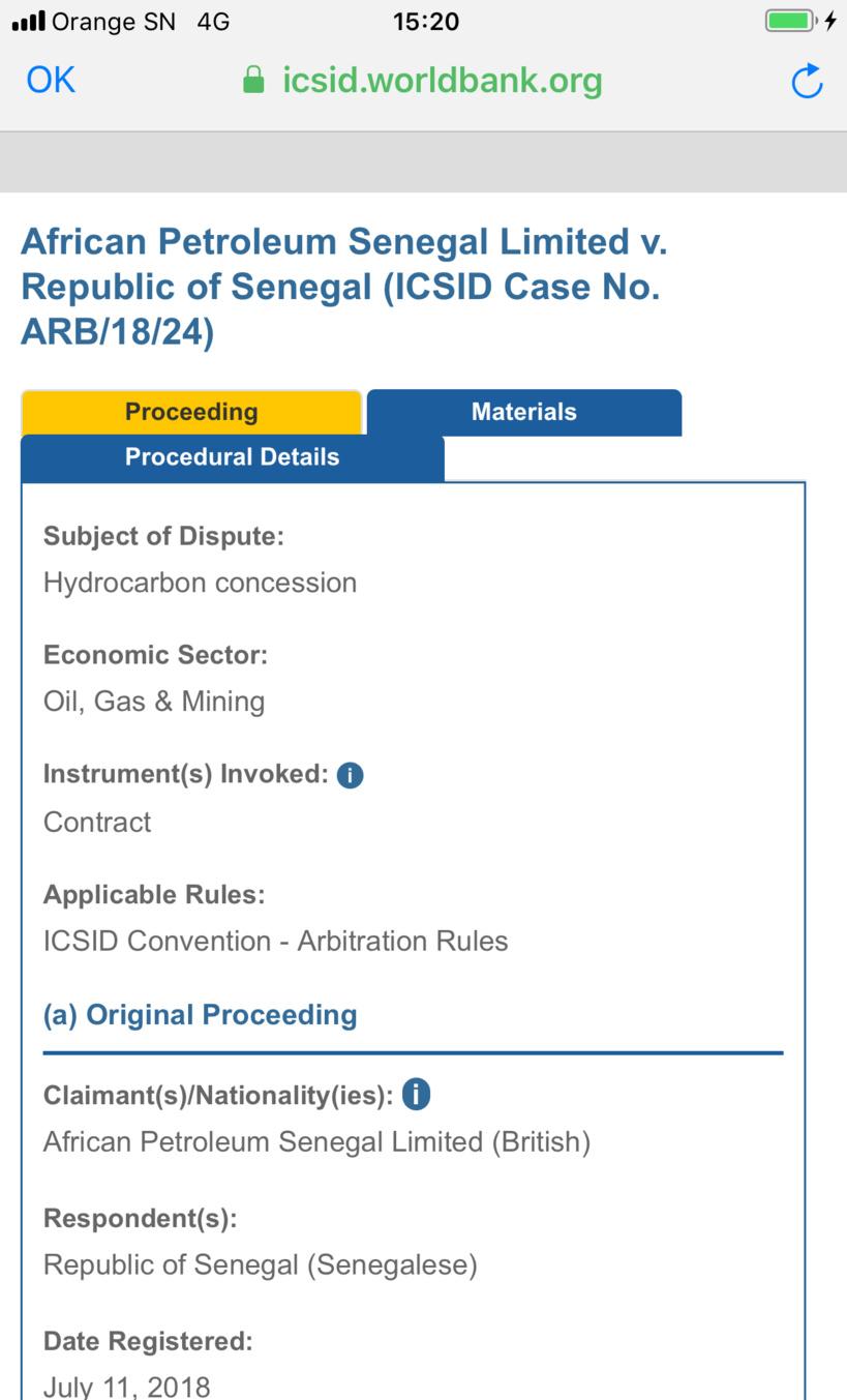 Octroi de licence à Total: l'Etat du Sénégal attaqué au CIRDI par African Petroleum et la famille Al-Nahyan