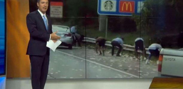 Vidéo-États-Unis : Un fourgon blindé déverse des milliers de dollars sur une autoroute