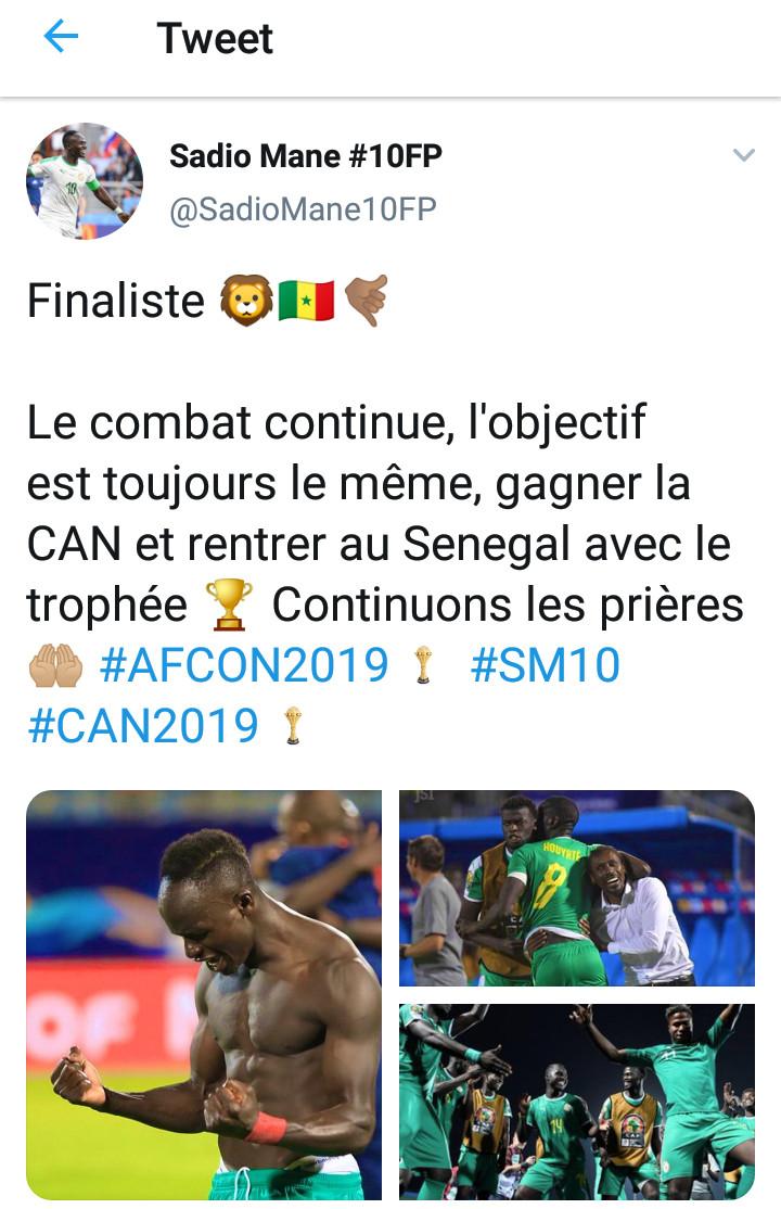 #CAN2019 : Sadio Mané déterminé à rentrer avec le trophée au Sénégal