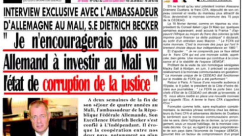 Mali: l'ambassadeur d'Allemagne parle de «corruption» et fâche des magistrats
