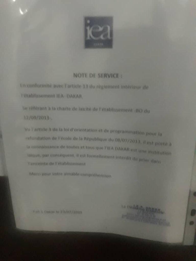 Des instituts français qui interdisent à des Sénégalais de prier au Sénégal... au nom de la laïcité