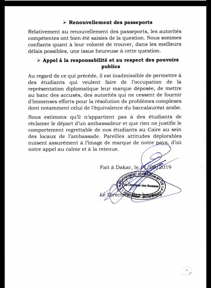 Manifestation des étudiants sénégalais en Égypte: La Direction des bourses sort du silence