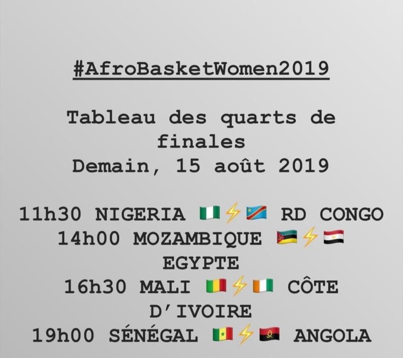 Les affiches des Quarts de finale de l'Afrobasket féminin 2019
