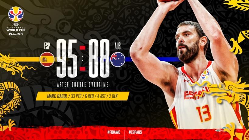 Mondial Basket: l'Espagne se qualifie en finale après un match fou contre l'Australie (95-88)