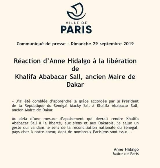 Anne Hidalgo exprime sa joie après la libération de Khalifa Sall (document)