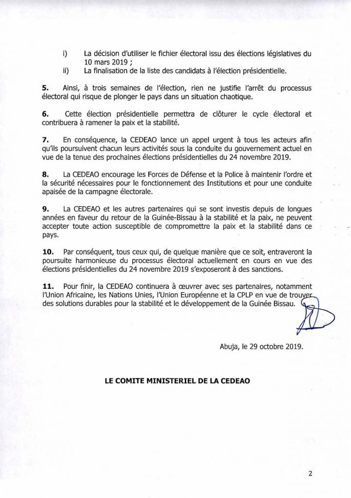 La CEDEAO juge illégale la dissolution du gouvernement en Guinée Bissau
