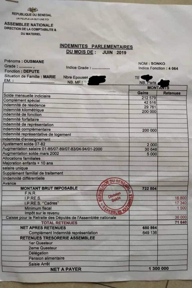 Injustice fiscale au sommet : Ousmane Sonko publie son bulletin de salaire