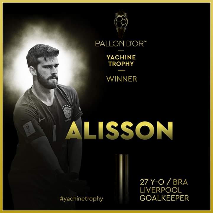 Alisson Becker remporte le premier Trophée Yachine de meilleur gardien du monde