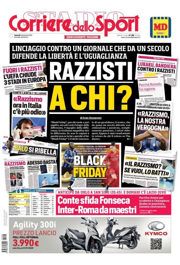 Racisme: le journal italien Corriere dello Sport refuse de s'excuse et parle de lynchage