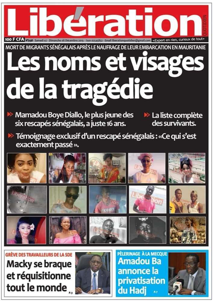 Naufrage d'une pirogue en Mauritanie : au moins huit (8) filles sénégalaises parmi les passagers