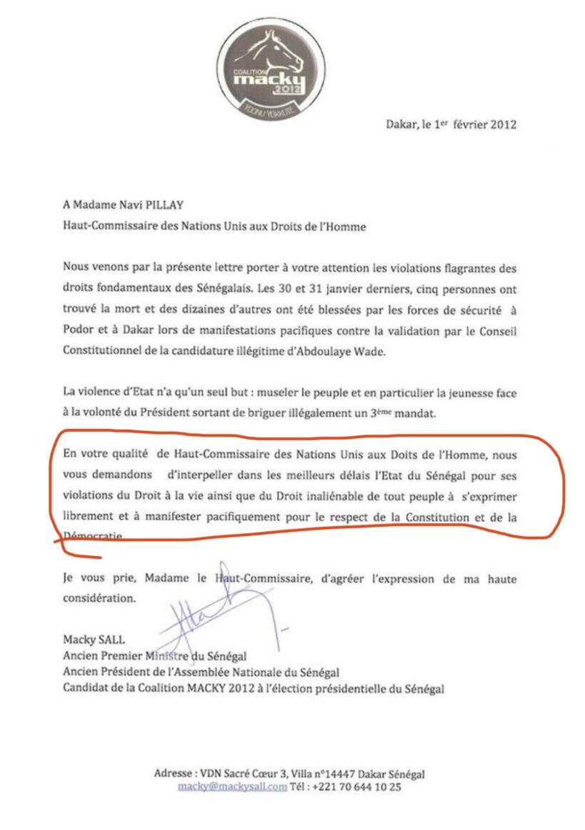 VAR - Cette lettre de Macky en 2012 à l'ONU pour dénoncer l'interdiction de manifestater aux Sénégalais