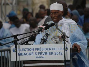 Abdoulaye Wade en campagne pour l'élection présidentielle, à Mbacké, le 5 février 2012. Laurent Correau/RFI