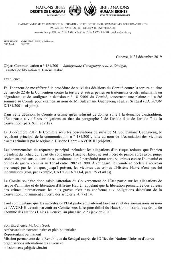 Hissène Habré: le Comité de l'ONU contre la torture s'oppose à une libération