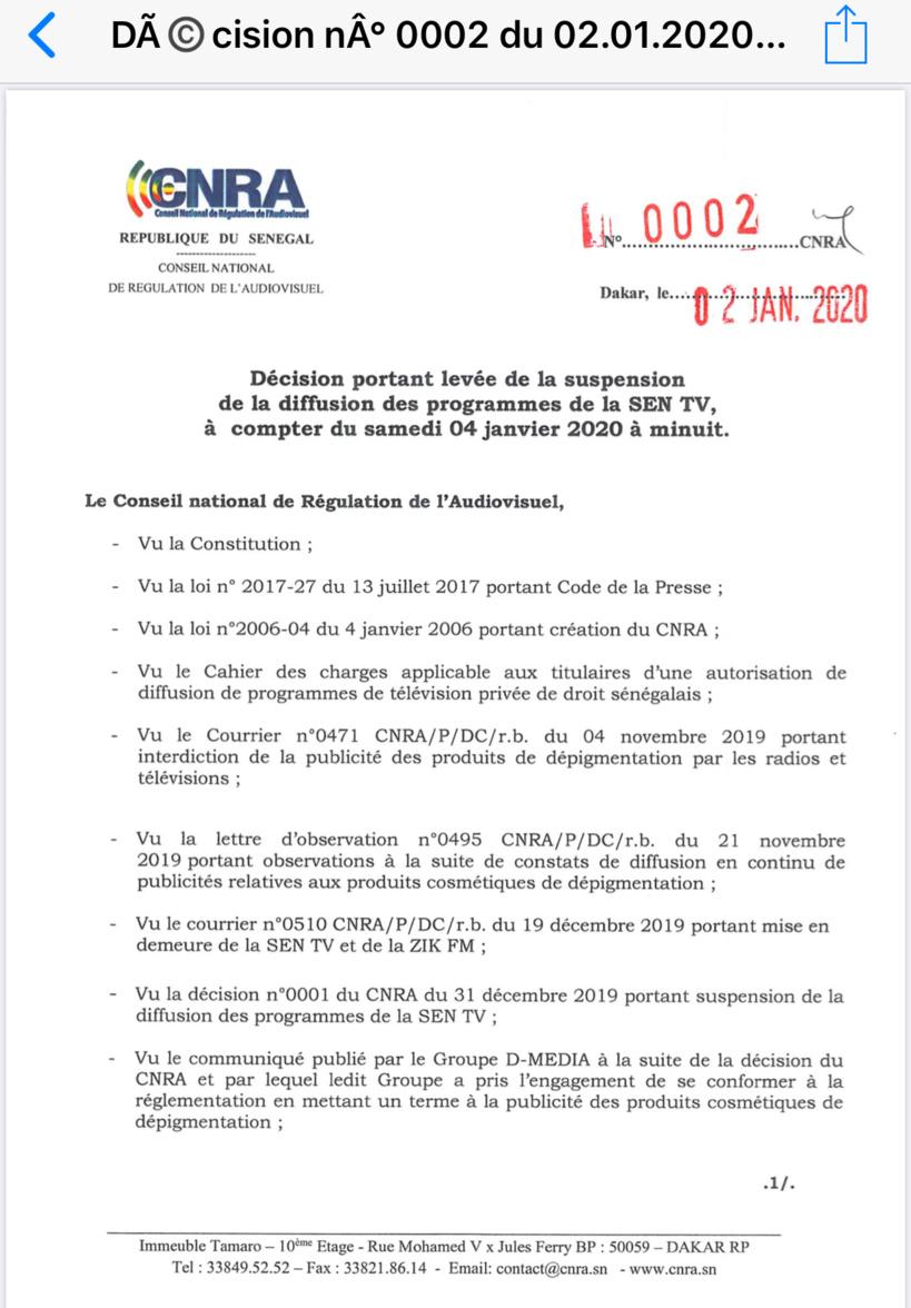 Le CNRA lève la suspension des programmes de la SEN TV (Document)