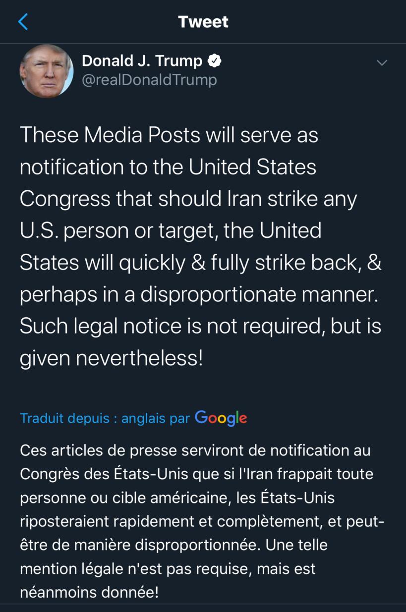 Trump choisit Twitter pour s'adresser au Congrès: «si l'Iran attaque une cible américaine, les Etats-Unis répliqueront de manière disproportionnée»