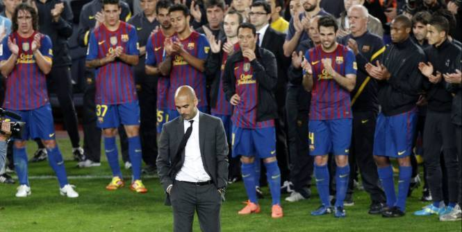 """Guardiola lors de ses adieux au Camp Nou: """"Celui qui perd le plus c'est moi"""""""