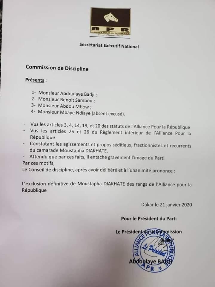 Urgent - Moustapha Diakhaté exclu définitivement de l'Alliance pour la République (Apr)