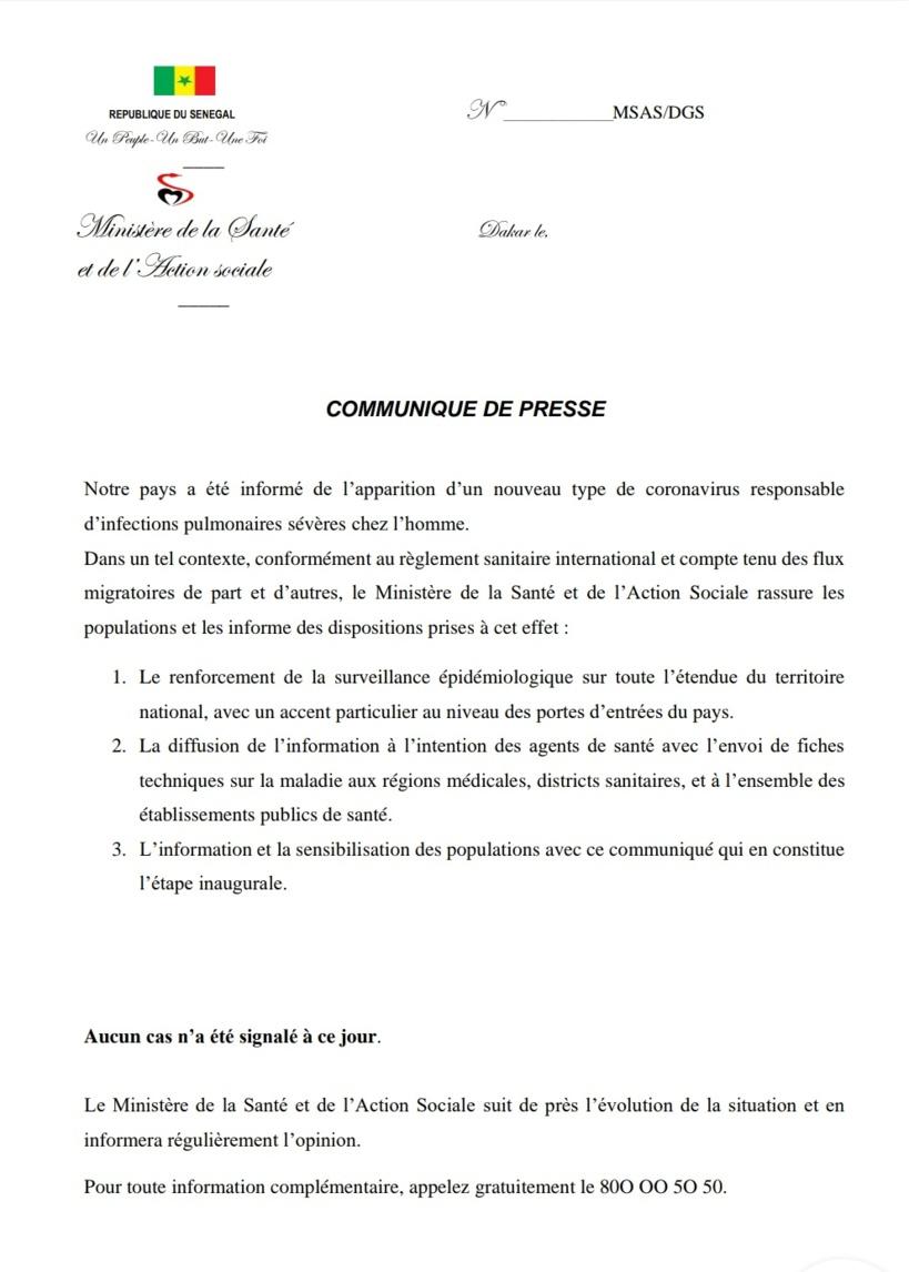 Coronavirus: le ministre sénégalais de la Santé rassure les populations et les informe des dispositions prises