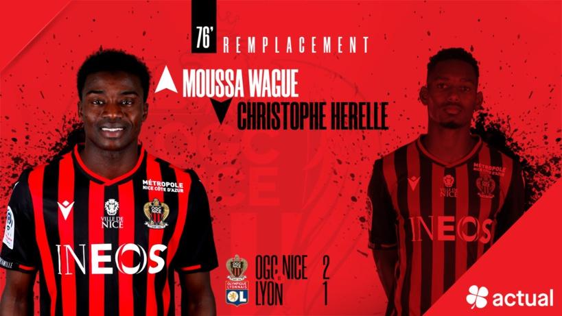 #Ligue1 - Moussa Wagué a joué ses premières minutes et participé à la victoire de Nice sur Lyon (2-1)