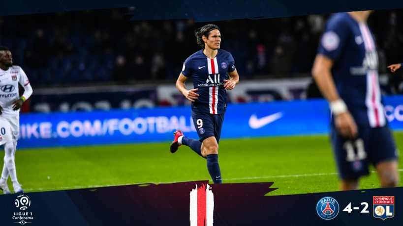 #Ligue1 - Cavani soulage le PSG devant Lyon (4-2)