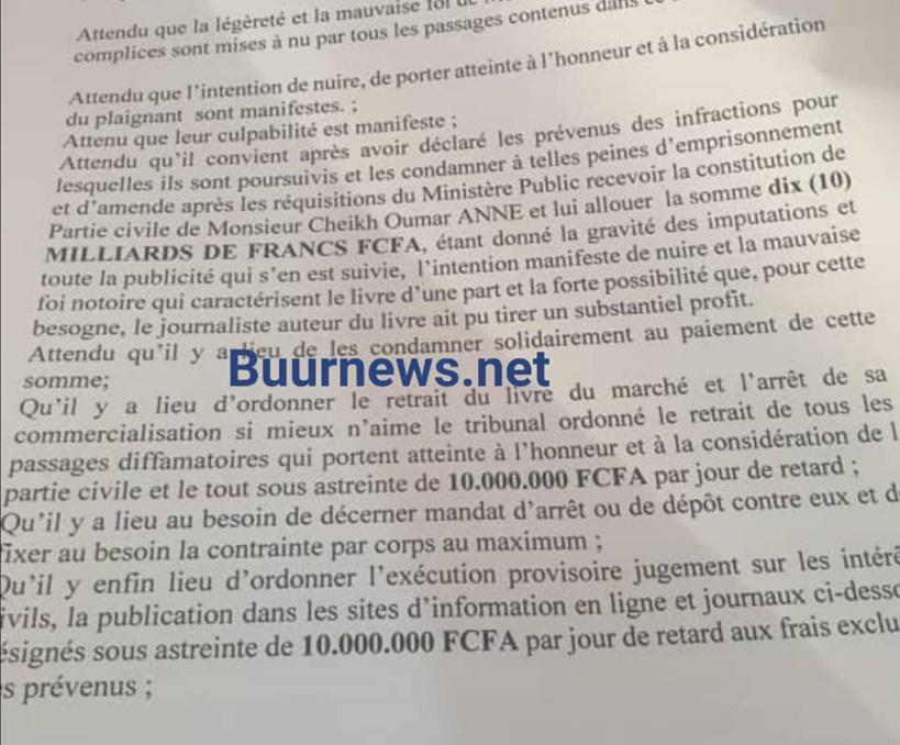 Cheikh Oumar Anne passe à l'acte et sert une citation directe à Pape Alé Niang et Mody Niang: il réclame 10 milliards