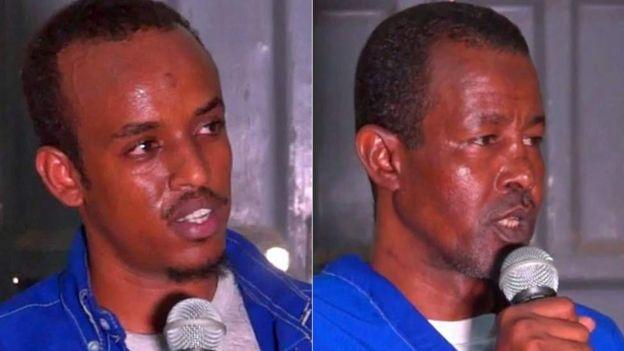 Abdifatah Abdirahman Warsame (à gauche) et Abdishakur Mohamed Dige (à droite) ont demandé pardon au père de la victime.