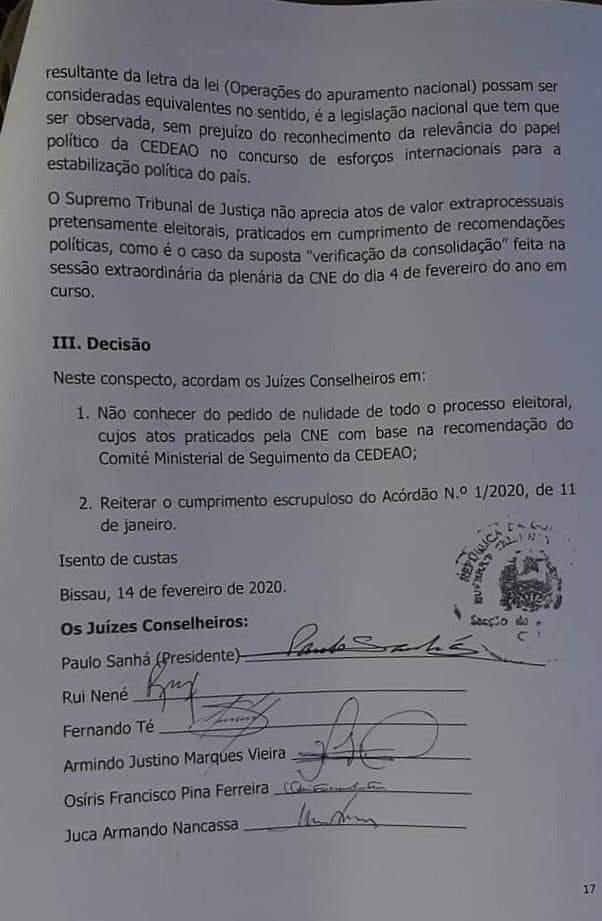 Guinée-Bissau: la Cour suprême invalide les résultats de l'élection présidentielle (Document)