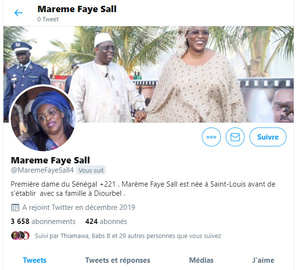 capture d'écran du profil du faux compte de la Première dame créé en décembre 2019 avec moins de 500 abonnés