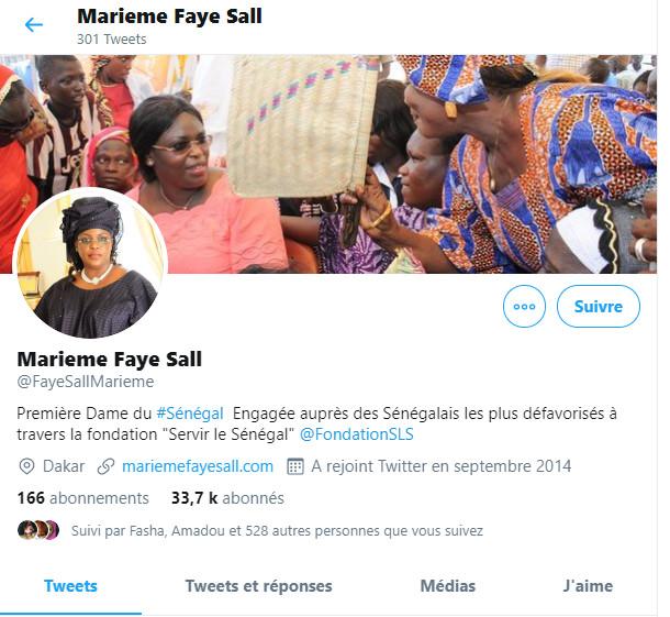 Capture d'écran du vrai compte de la Première Dame, créé depuis septembre 2014... avec plus de 33 mille abonnés