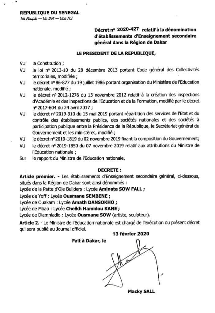 Macky signe un décret pour donner des noms de Lycées à Dansokho, Sembene, Aminata Sow Fall, Cheikh Hamidou Kane et Ousmane Sow (sculpteur)