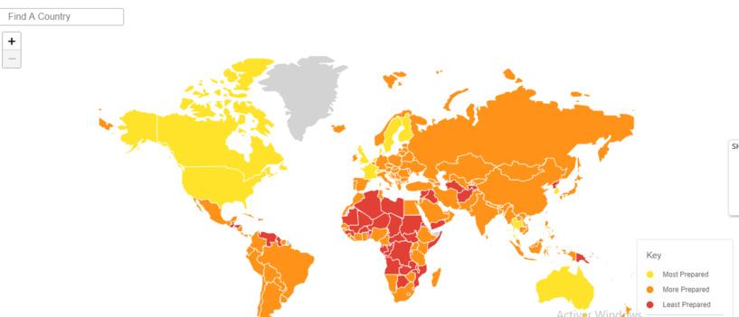 La carte de l'Indice GHS des pays les mieux préparés à une éventuelle pandémie du Coronavirus