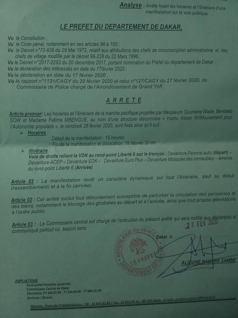 La marche de Noo Lank de ce vendredi autorisée (Document)