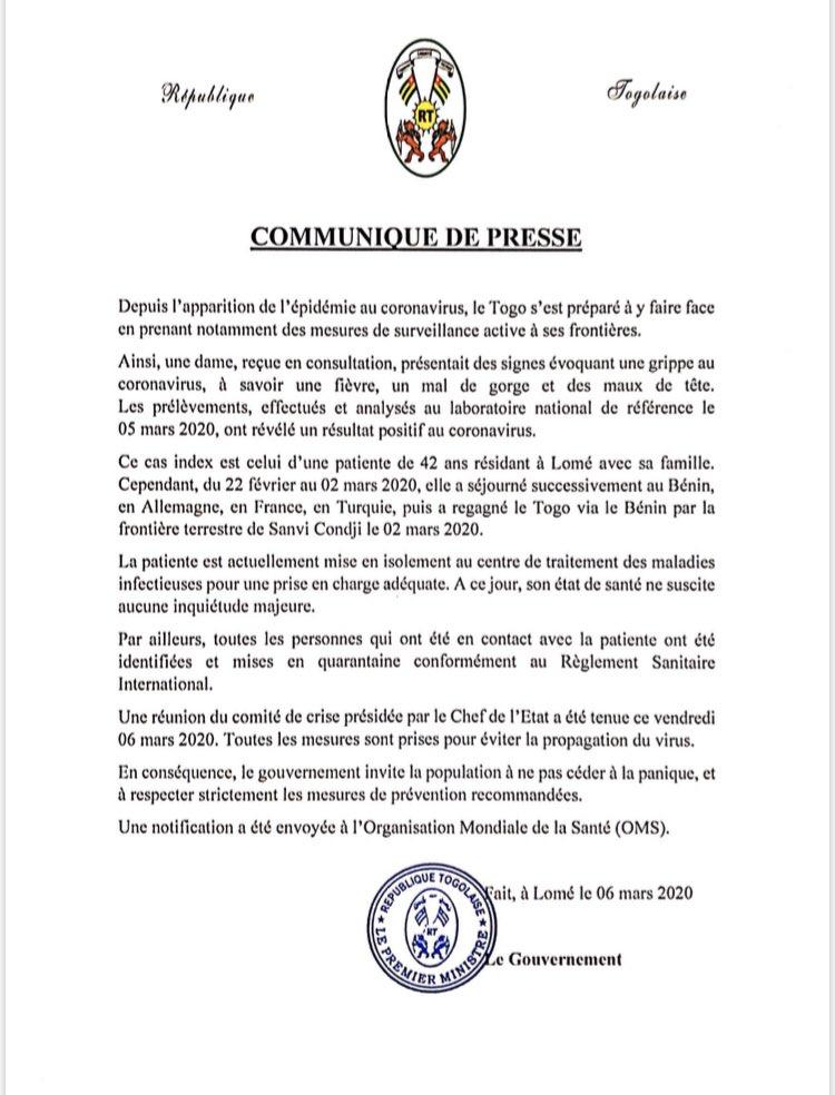 Urgent : un cas de coronavirus confirmé au Togo