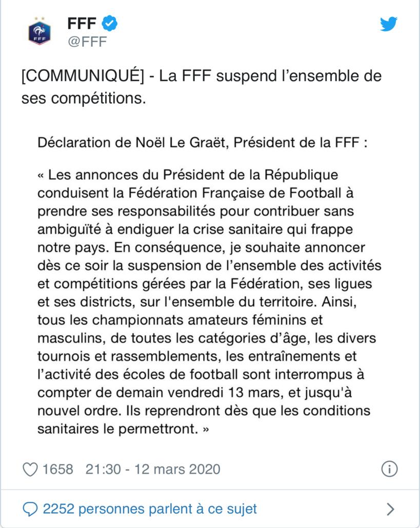 Coronavirus : la FFF suspend l'ensemble de ses compétitions