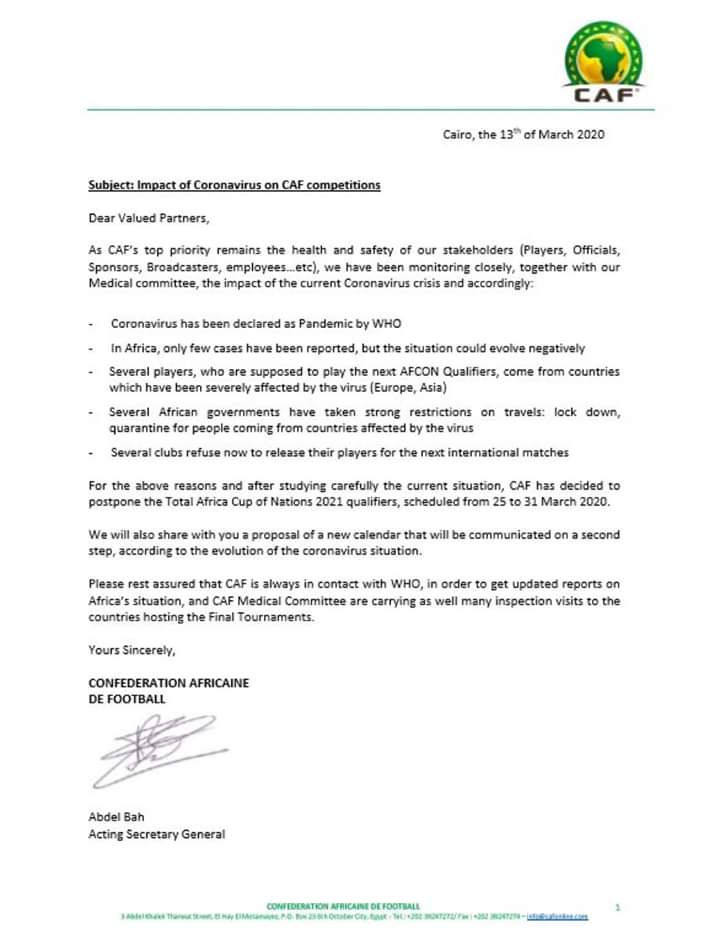 #Coronavirus: La Caf décide de reporter les 2 prochaines journées des éliminatoires de la CAN2021