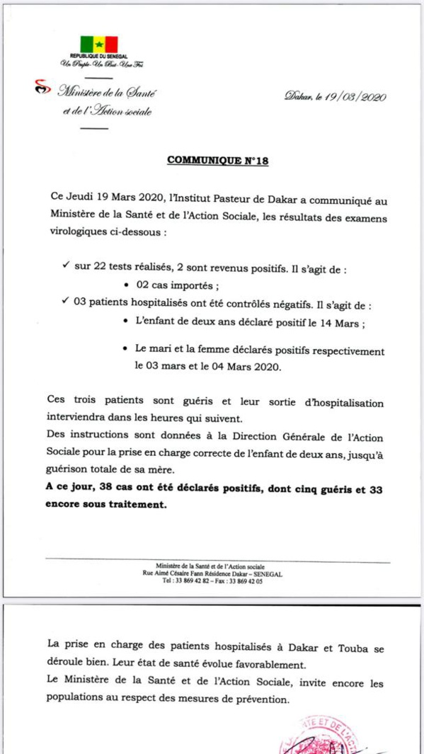 #Covid 19: l'expansion de la maladie se poursuit au Sénégal, avec 2 nouveaux cas positifs, 3 patients guéris