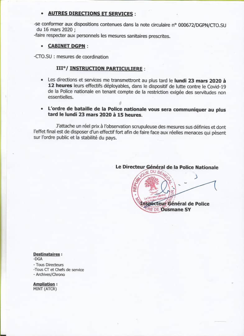 Le circulaire du Directeur général de la police qui prépare au «confinement de localités»