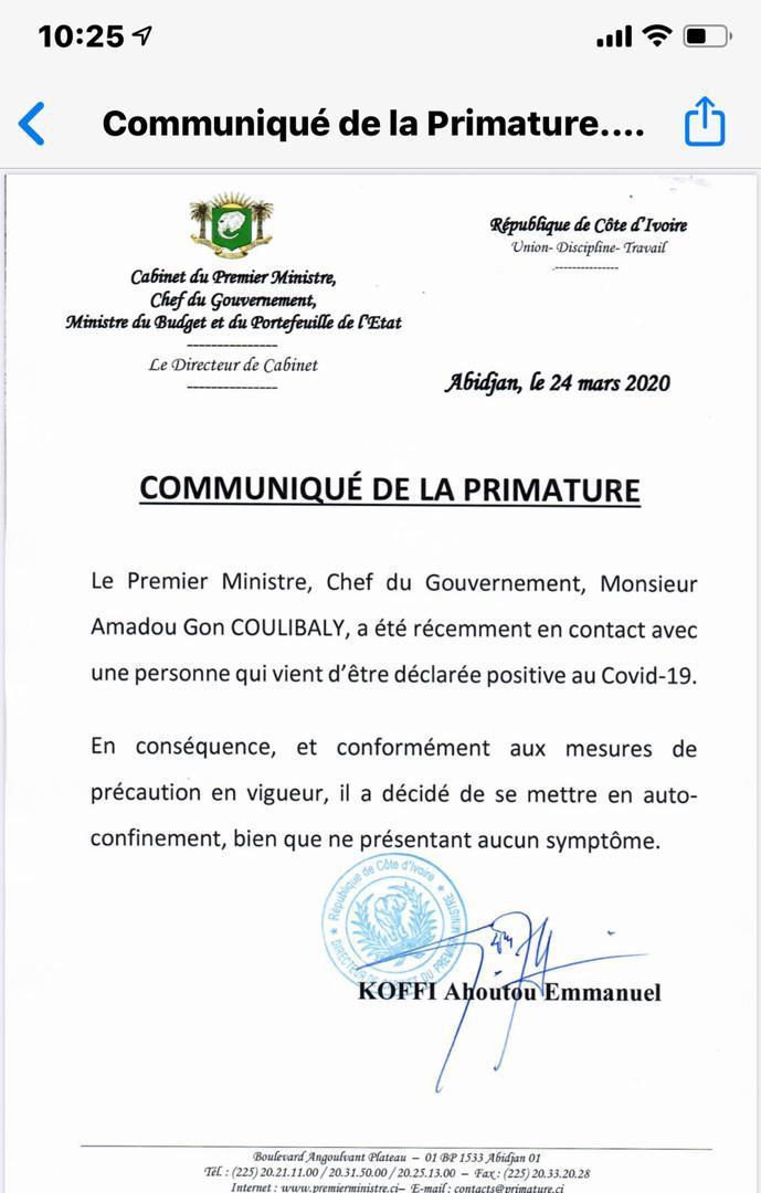 #Covid19: le premier ministre ivoirien Gon Coulibaly s'est auto-confiné après voir été en contact avec une personne déclarée positive