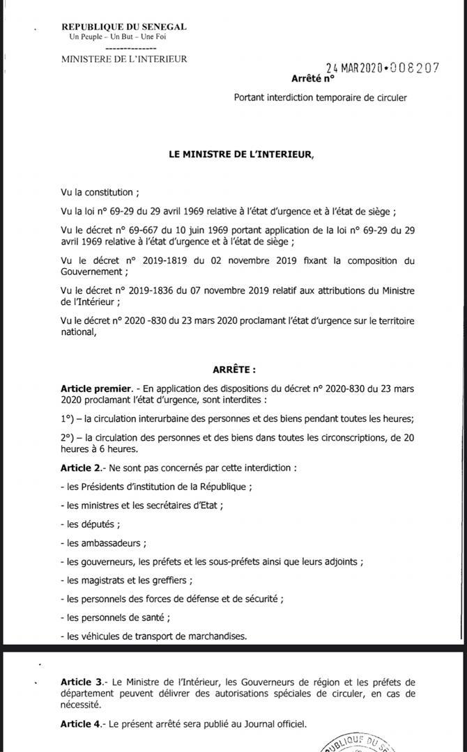 #Covid19sn: voici la liste des personnalités exemptées du couvre-feu (Document)