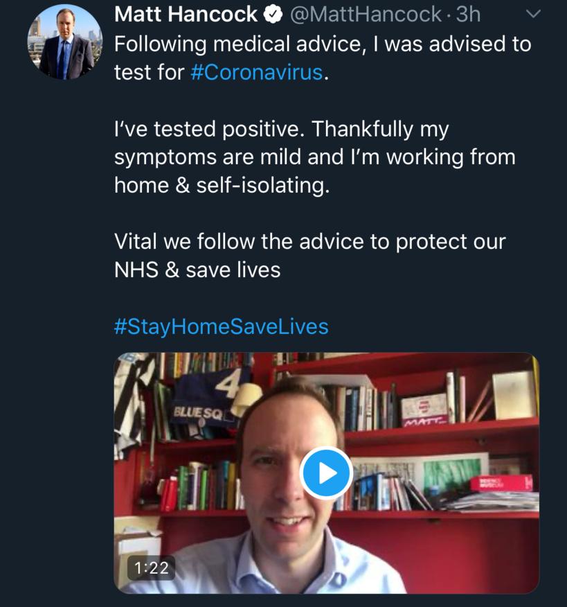 ANGLETERRE/COVID-19  Après le Pm, le ministre de la Santé testé positif